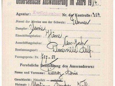 Document d'émigration transatlantique