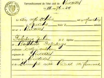 Extrait du registre des naissances