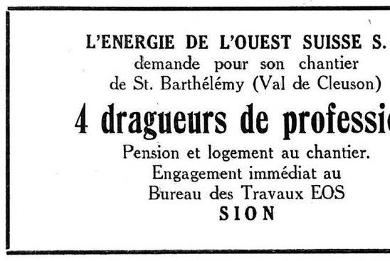 4 dragueurs de profession pour son chantier de St-Barthélémy  Val de Cleuson / Nendaz